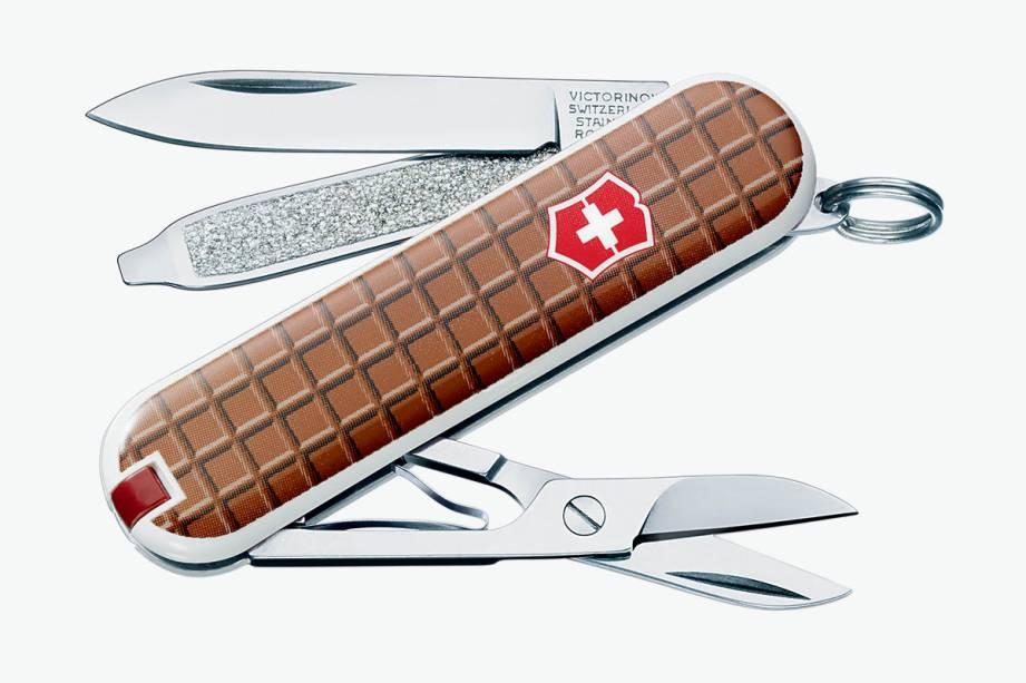 Canivete suíço com sete funções e estampa de chocolate: R$ 113,00