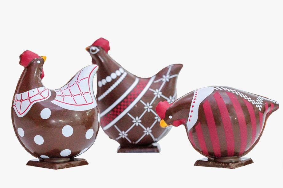 Galinha de chocolate belga (96 gramas): R$ 43,00 a unidade