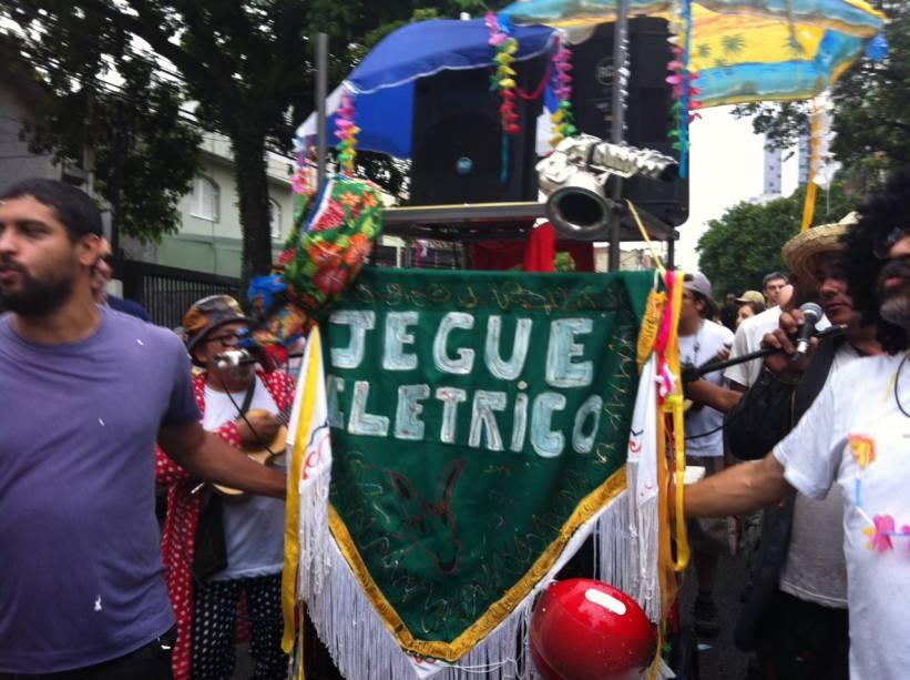 O estandarte do bloco de Carnaval Jegue Elétrico