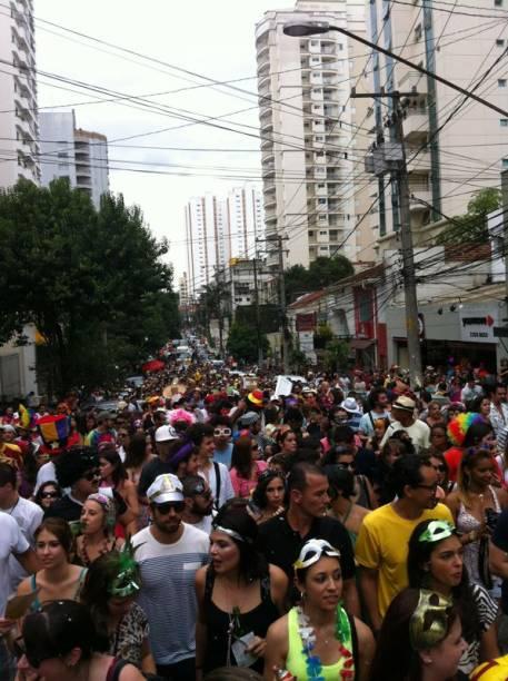Cerca de 2 mil pessoas aproveitam fantasiados o bloco João Capota na Alves, em Pinheiros