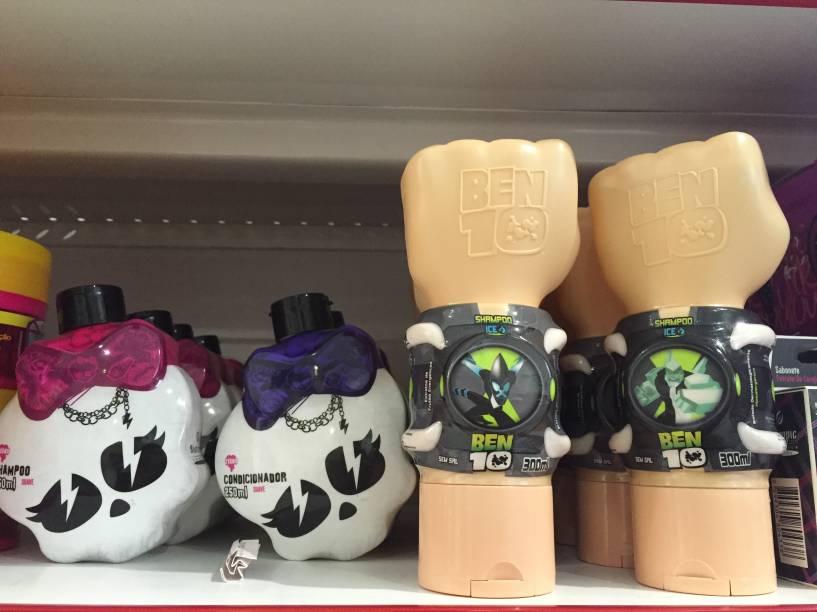 Condicionador Monster High (5,99 reais) e shampoo Ben 10 (8,45 reais)