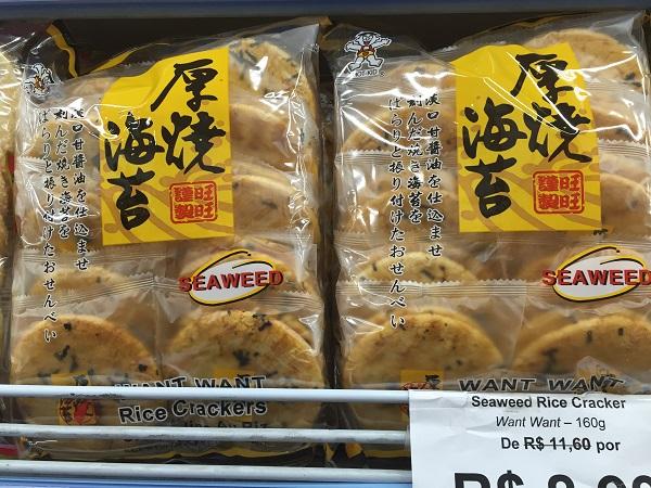 Biscoito de arroz de algas marinhas (de 11,60 reais por 8,99 reais)