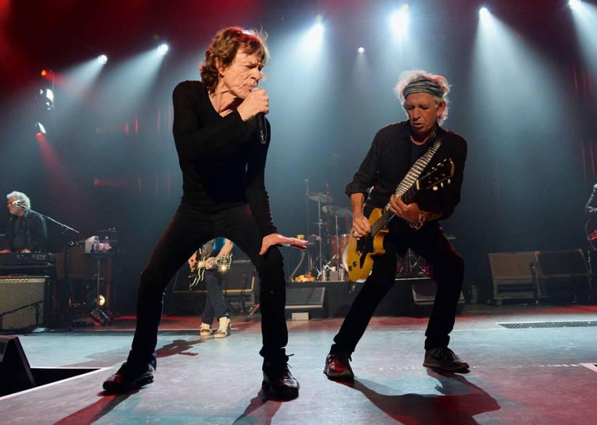 Mick Jagger e Keith Richards: o grupo percorre os clássicos de toda a carreira do quarteto