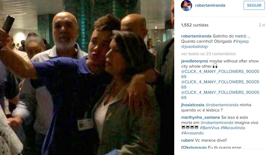 Roberta Miranda mostrou bom humor ao falar sobre o show no metrô