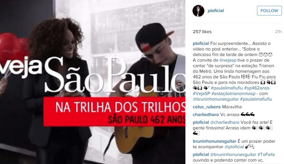 """Paula Lima afirmou que ação """"foi uma linda homenagem à cidade"""""""