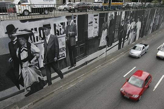 Avenida 23 de Maio: grafite inspirado em São Paulo dos anos 20