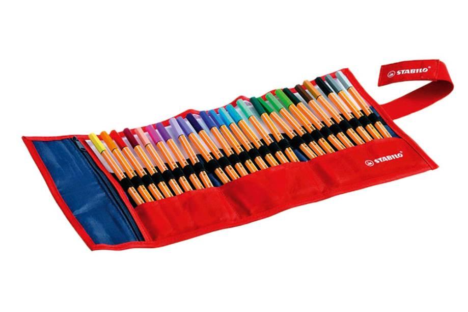 Estojo com 25 canetas coloridas de ponta fina: R$ 174,90