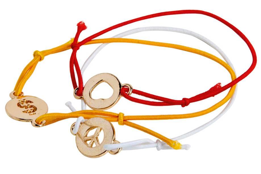 Conjunto de três pulseiras (paz, amor e dinheiro)