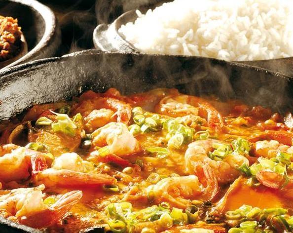 Moqueca de badejo com camarão rosa do restaurante Badejo