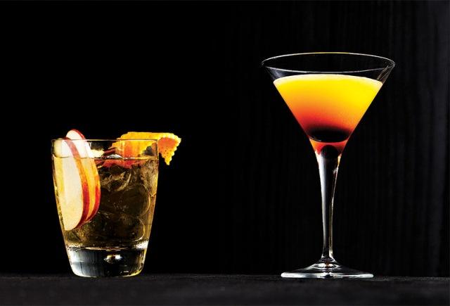 O forbidden old-fashioned e o martíni de caju e tangerina