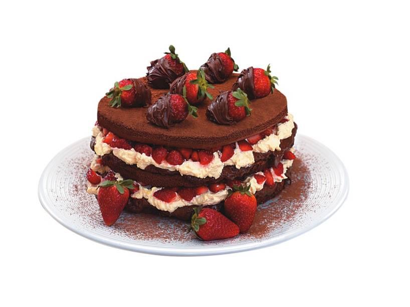 Na Amor aos Pedaços: o brownie com morango