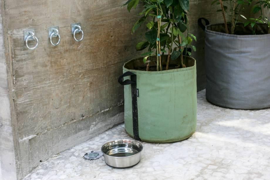 Cachorros são bem-vindos e há água fresca para eles junto aos ganchos para amarrar as guias