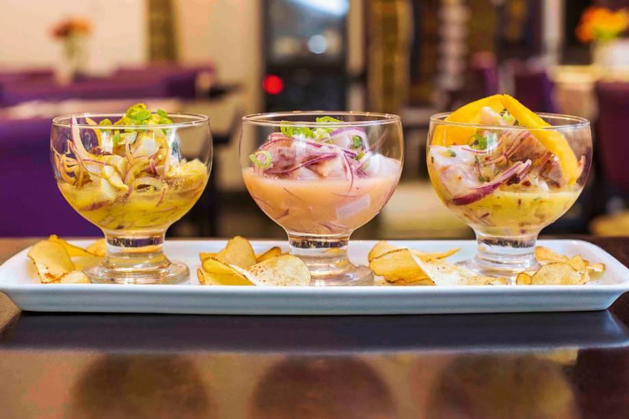 Ceviche: trio preparado com peixe branco