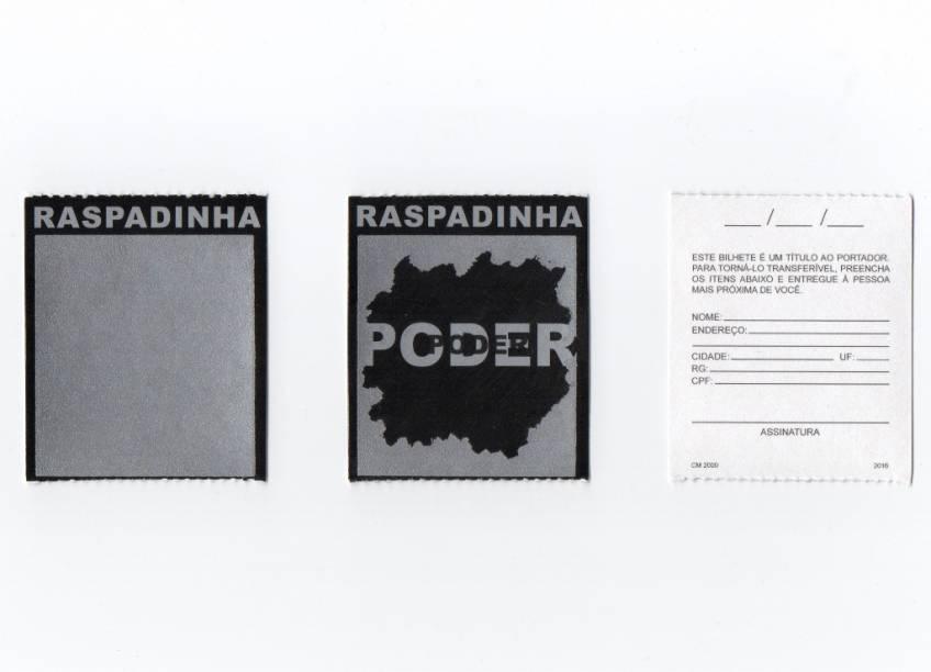 """Cinthia Marcellefez uma ação com cartões raspáveis e distribuiu por bancas da cidade: na sua raspadinha, o prêmio é a palavra """"poder"""""""