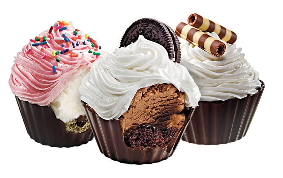 Cupcakes de sorvete: montados sobre copinhos de chocolate belga