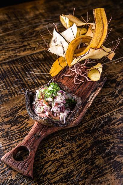 Ceviche de tainha de Santa Catarina e chips