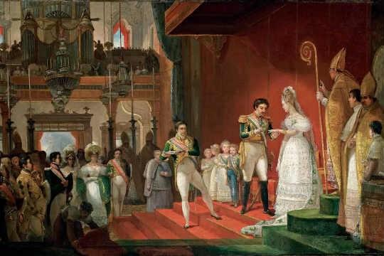 Casamento de dom Pedro I e dona Amélia, pintado em 1829 pelo francês Jean-Baptiste Debret: o acervo será exibido em público pela primeira vez
