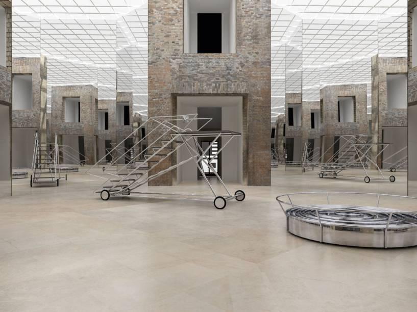 Exit III com Parede Niemeyer: a obra coloca espelhos no octógono