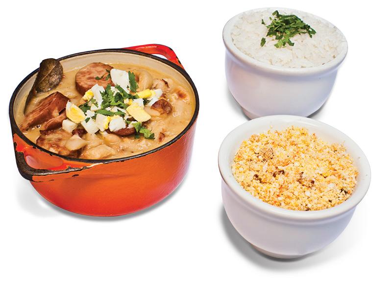 Dobradinha com feijão-branco: Cremosa acompanhada de arroz e farofa