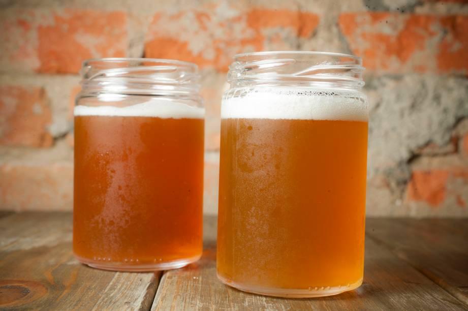 As cervejas são servidas em vidros no lugar de copos