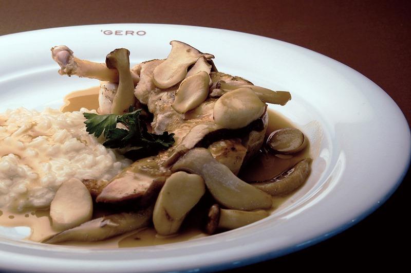 Galinha dangola com molho de cogumelos e risoto de parmesão