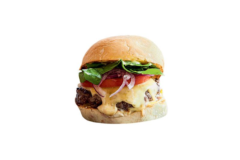Riviera Bar: receita tem 150 gramas de carne, queijo gruyère, cebola-roxa, tomate e rúcula (R$ 29,00)
