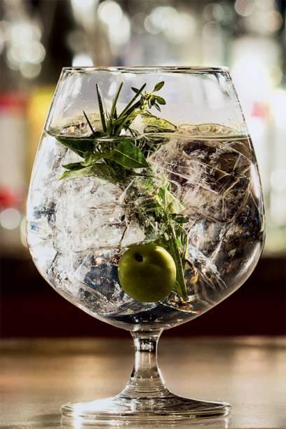 Uma das novas versões de gim-tônica do Astor: com azeitona, tomilho, manjericão e alecrim