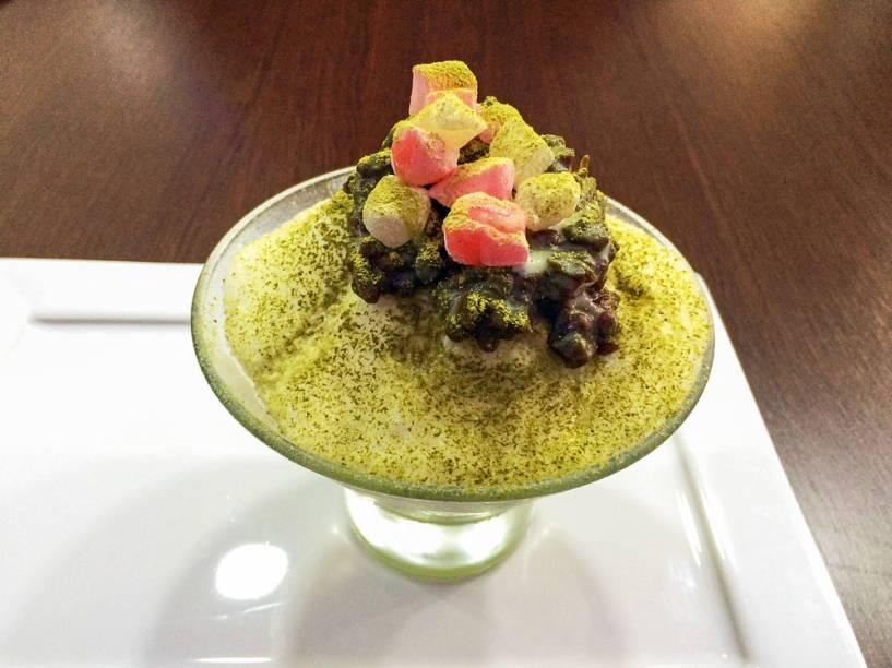 Chá verde: bem típico, o gelado recebe ainda feijão doce e moti