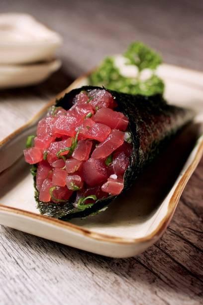 Temaki de atum: a pedida integra o rodízio no Kibô Sushi