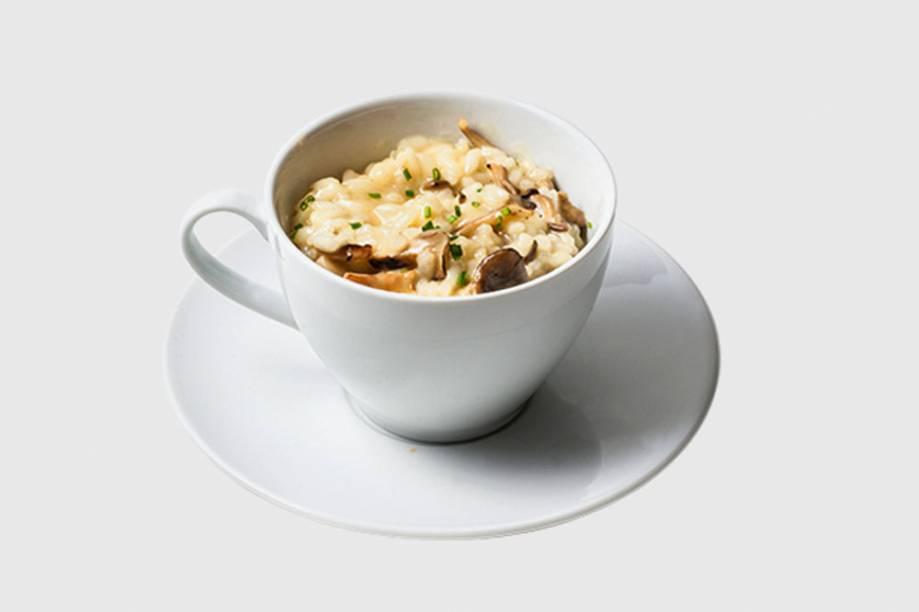 Risoto de cogumelos: Servido na xícara