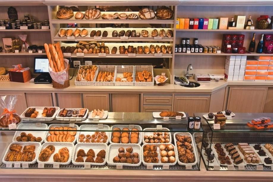 A vitrine de pães de estilo francês