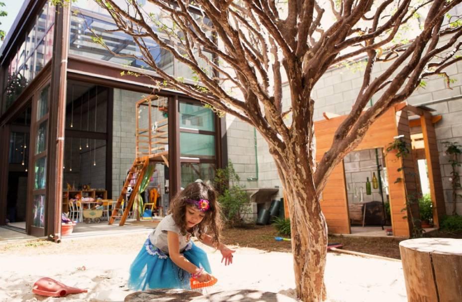 Mamusca: área externa, onde fica o tanque de areia - crianças podem subir na árvore