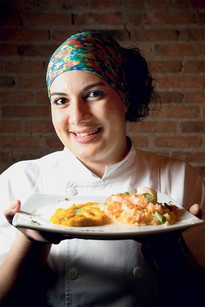 A chef Lisandra Amaral: no ambiente descolado, ela serve pratos feitos com ingredientes do dia