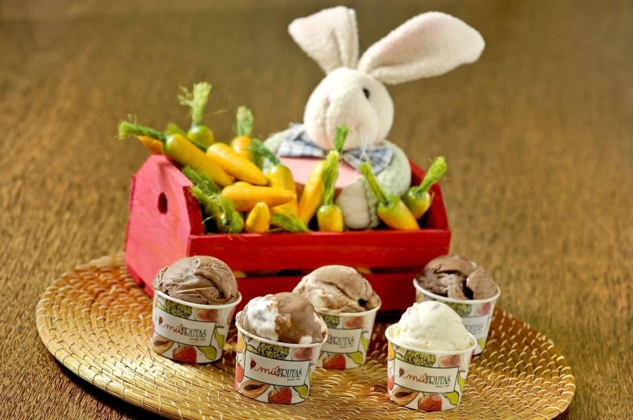 Mil Frutas criou sorvetes de chocolate branco com amêndoas, gianduia e chocolate duplo para a Páscoa