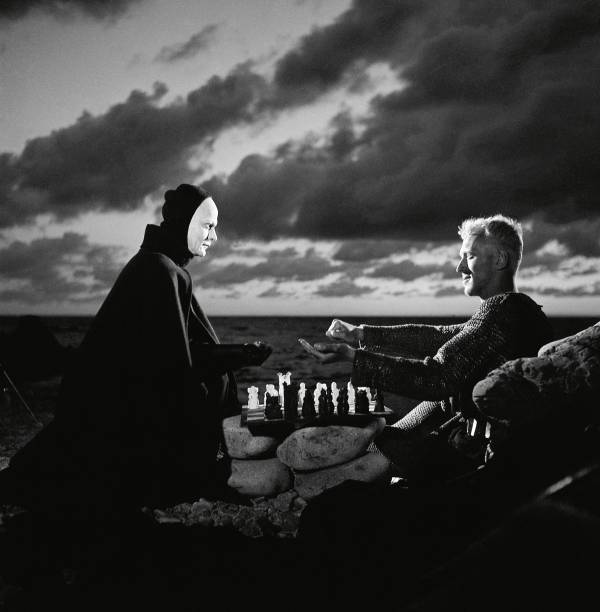 No jogo de xadrez: a Morte encara o cavaleiro