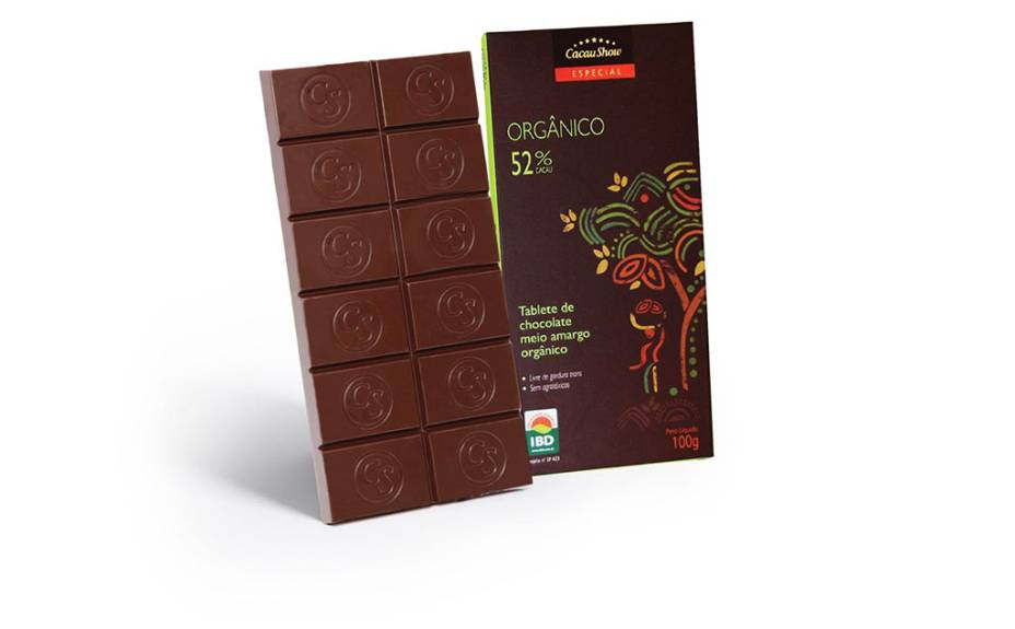 Tablete de chocolate meio amargo orgânico