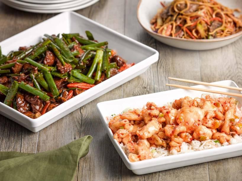 Mongolian beef e chang's chicken em porções para partilhar