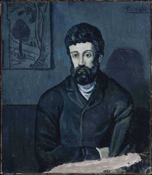 """""""retrato de Homem"""" foi feito durante a fase azul, na qual o tom era usado por Picasso em todos os seus quadros"""