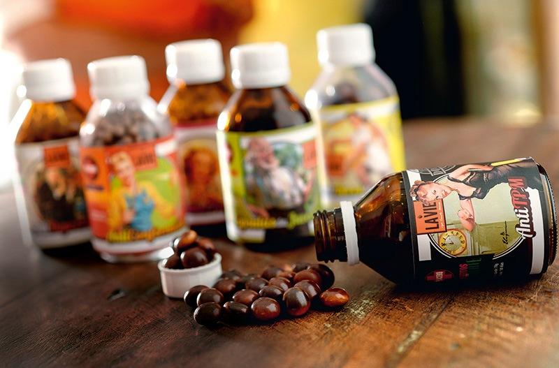 A linha de placebos inclui o antídoto para a TPM: confeitos de chocolate ao leite ou branco
