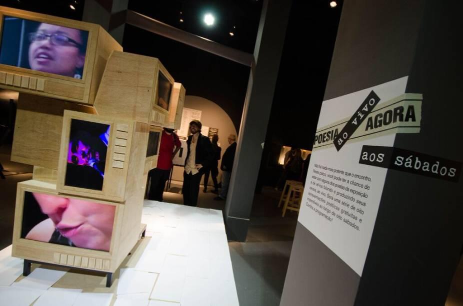 Ambiente da nova exposição do Museu da Língua Portuguesa