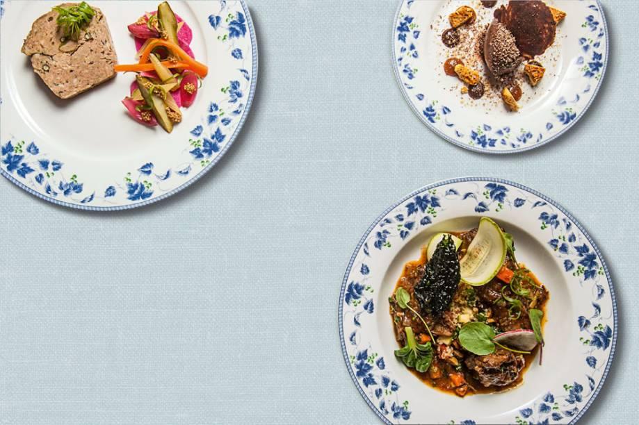 Menu executivo: Terrine (ponto de partida), Cordeiro (com cuscuz marroquino) e de sobremesa musse de chocolate