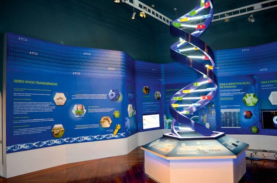Sala DNA: escultura com iluminação fluorescente