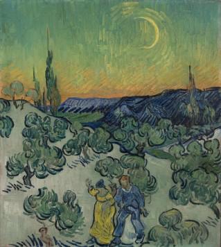 """""""Passeio ao crepúsculo"""",de Vincent van Gogh, 1889-90"""