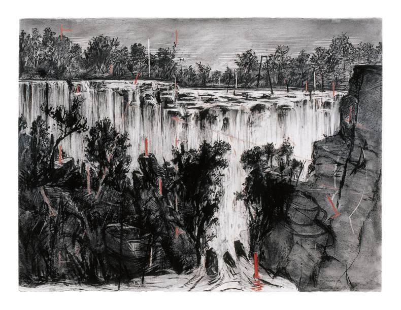 Paisagem colonial (Cachoeira olhando para cima), 1996, carvão e pastel sobrepapel. 135,9 x 175,5 cm, William Kentridge
