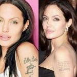 A atriz Angelina Jolie fez uma homenagem ao seu ex-marido, Billy Bob Thornton, com uma tatuagem. Após o divórcio ela achou uma maneira inteligente de substituí-la: colocando as coordenadas de nascimento de seus filhos