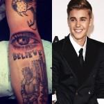 """O ator Justin Bieber é conhecido pela fama de criança fofa que virou garoto problema e pelo gosto duvidoso para tatuagens: a pior delas é esta junção de um olho e a palavra """"believe"""" (acredite)"""