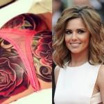 A belíssima cantora Cheryl Cole resolveu tatuar um buquê de rosas gigantesco... em seu bumbum. Essa leva o prêmio de tattoo mais curiosa da lista