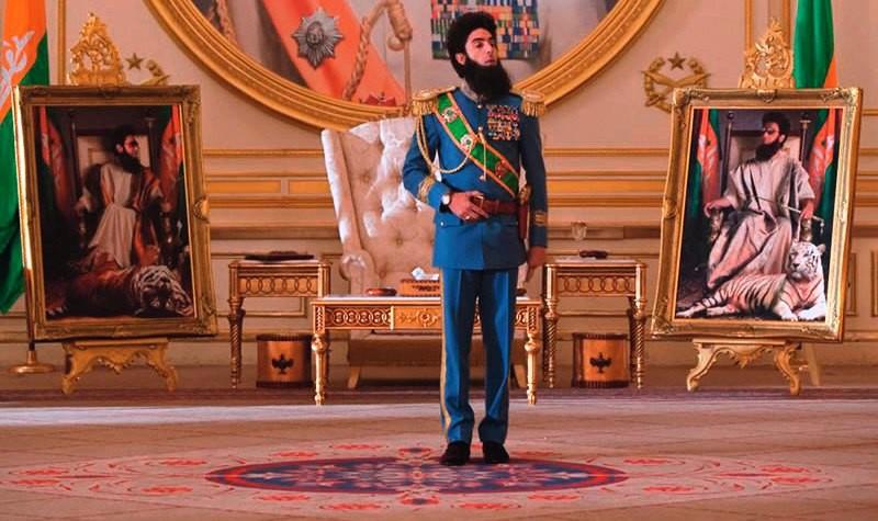 Sacha Baron Cohen como o general Aladeen na comédia O Ditador, em pré-estreia: déspota irascível