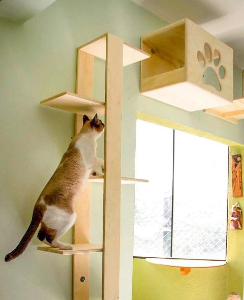 """""""Árvore"""", 210 reais, e módulo de patinha, 185 reais, da Pepe Cats: www.pepecats.com"""