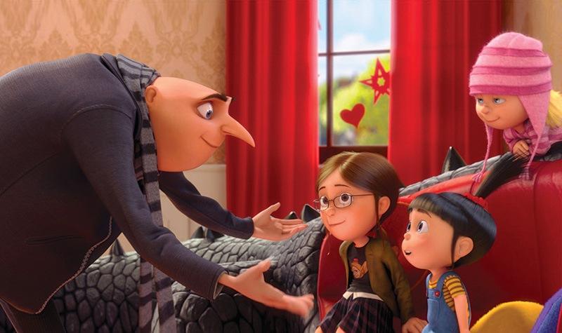 Meu Malvado Favorito 2: Gru e as três filhas adotivas, antes vilão, agora paizão